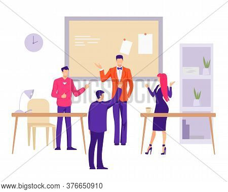 Sole Office In Company Illustration. Group Of