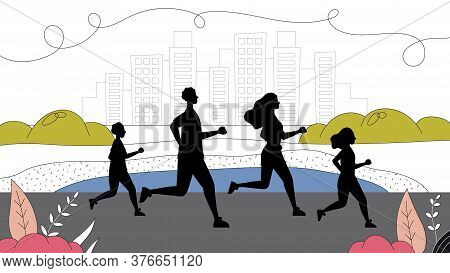 Concept Of Sport, Leading Healthy Lifestyle. Family Running Marathon Together In Park. Father, Mothe
