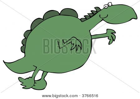 This illustration depicts a green dinosaur leaping through the air. poster