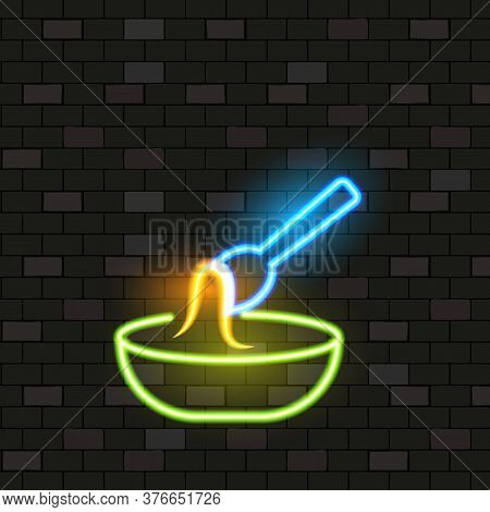 Vip Neon Icons. Night Bright Signboard, Glowing Light Banner. Neon Chinese Noodle Soup On Dark Brick