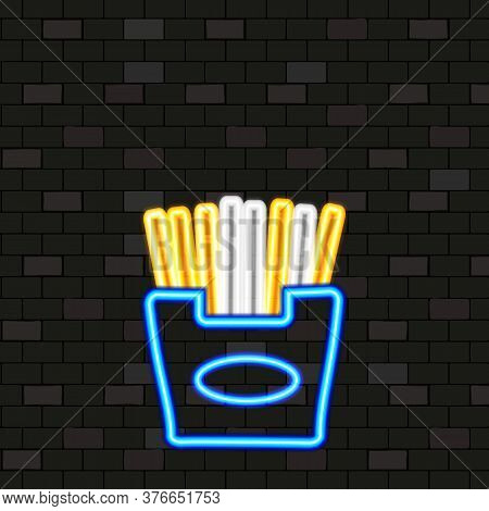 Vip Fast Food Neon Icons. Night Bright Signboard, Glowing Light Banner. Neon French Fries On Dark Br