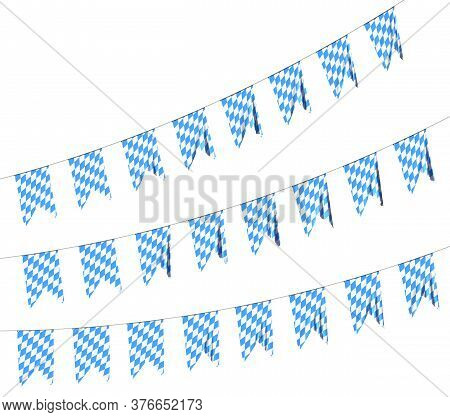 Garland Of Bavaria Party Flags Buntings Of Checkered Blue Flag With Blue-white Checkered Pattern, Tr
