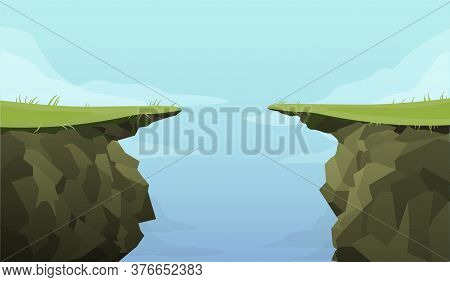Ledge Chasm Empty Template. Cliff In Middle