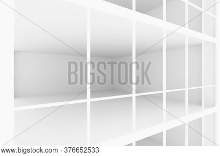 White Empty Business Office Room With White Floor, Ceiling And Walls And Light From Large Windows An