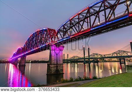 The Big Four Bridge Across The Ohio River Between Louisville, Kentucky And Jeffersonville, Indiana