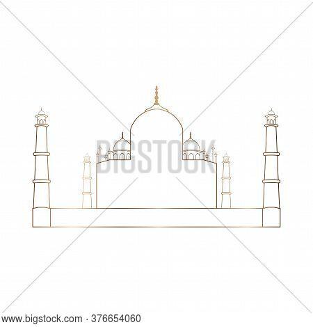 Taj Mahal Golden Outline. Indian Famous Building - Vector