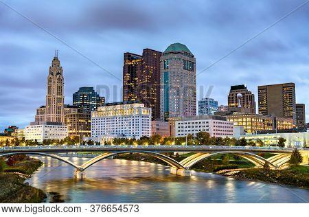 Cityscape Of Columbus Above The Scioto River In Ohio, United States