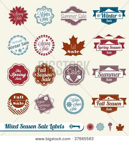 Vector Set: Vintage Mixed Seasonal Sale Labels and Tags