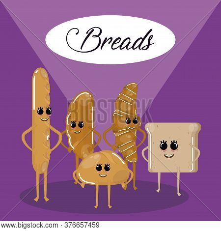 Breads Cartoon Illustration. Cartoons Of A Sliced Bread, French Bread, Bun Bread And Croissant - Vec