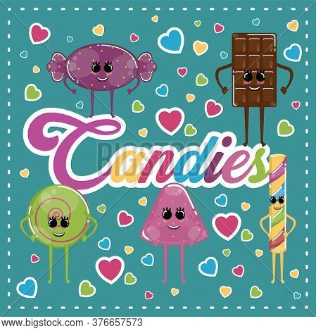 Candies Cartoons Illustration. Cartoons Of A Caramel, Candy Bar, Chocolate Bar, Jelly And Lollipop -