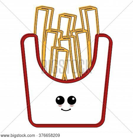 Cartoon Icon Of A Happy French Fries. Fast Food Icon - Vector