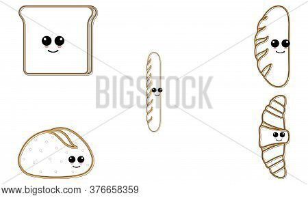 Set Of Breads Cartoon. Cartoons Of A Sliced Bread, French Bread, Bun Bread And Croissant - Vector