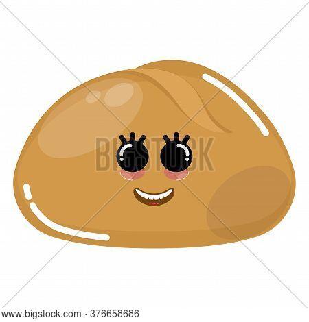 Cartoon Icon Of A Happy Bun Bread - Vector