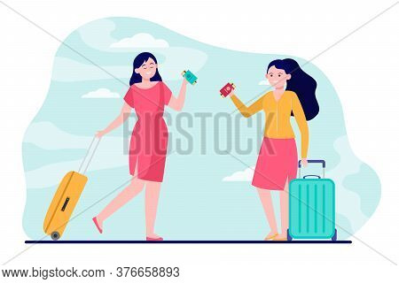Happy Young Girls Travelling Abroad. Passport, Baggage, Ticket Flat Vector Illustration. Journey And