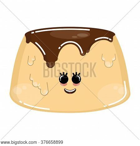 Cartoon Icon Of A Happy Flan. Dessert Icon - Vector