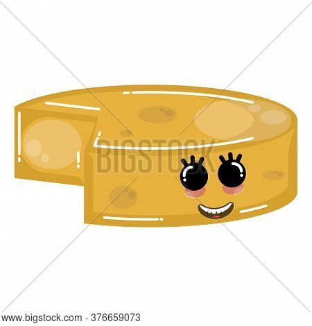 Cartoon Icon Of A Happy Cheddar Cheese. Dairy Product Icon - Vector