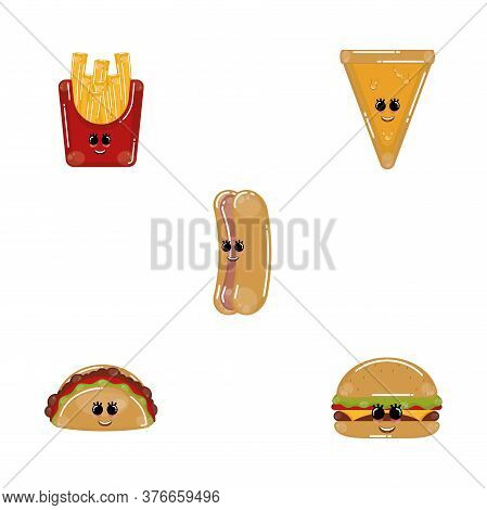 Set Of Fast Food Cartoons. Cartoons Of A Taco, French Fries, Burger, Hotdog And Cheese Pizza - Vecto