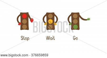 Traffic Lights. Red, Yellow, Green Signals. Traffic Regulation. Colorful Banner Vector Illustration