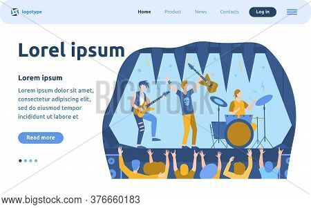 Famous Rock Band Playing Music And Singing At Stage Flat Vector Illustration. Cartoon Crowd Of Peopl