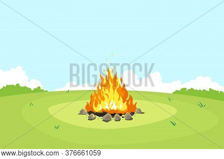 Campfire On Green Glade And Blue Sky In Summer Day, Place For Camping Nature Background, Campfire Wi