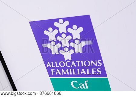 Bordeaux , Aquitaine / France - 07 07 2020 : Allocations Familiales Logo Sign Of Caf Agency For Fami