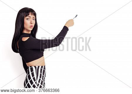 Back View Of Writing Beautiful Woman. Backside View Of Person. Isolated Over White Background.