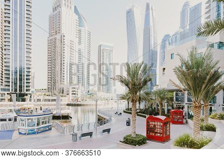 Dubai; Uae - June 6, 2020: Dubai Marina Walk Early In The Morning. Popular City Promenade With Skysr