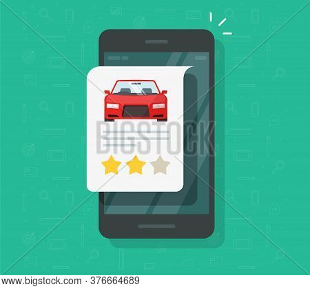 Car Vehicle Review Rating Online On Mobile Phone Or Automobile Testimonial Feedback Icon Isolated, W