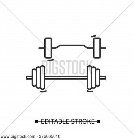 Barbell Set Icon. Home Gym Adjustable Weight Barbells Linear Pictogram. Concept Of Power Training, W