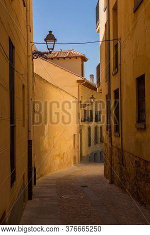Segovia, Spain - April 26, 2019: Segovia narrow street in Castile La Mancha, Spain