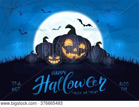 Happy Pumpkins On Blue Halloween Background With Full Moon. Card With Jack O' Lanterns, Bats And Spi