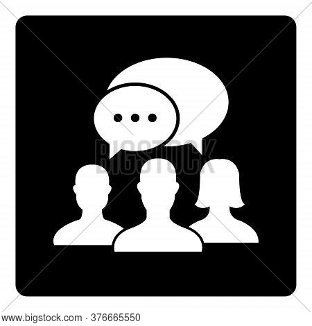 People Talking Icon Isolate On Black Background Drawing By Illustration. People Talking Icon