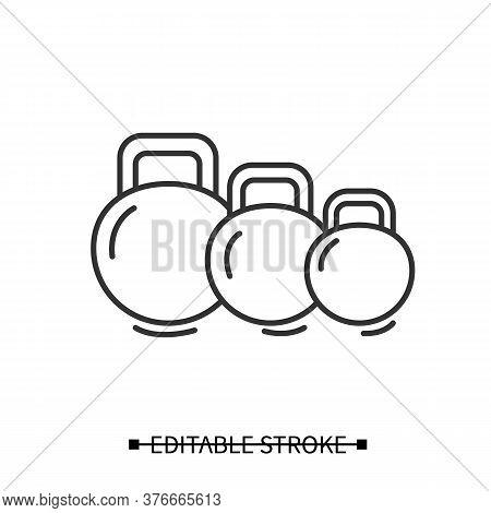 Kettlebells Icon. Heavy Weight Dumbbells For Power Lifting Linear Pictogram. Concept Of Power Rainin