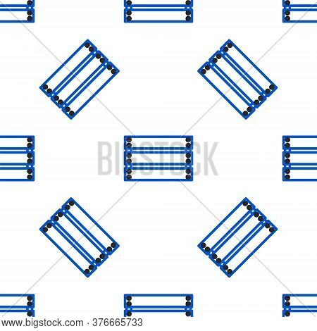 Line Wooden Box Icon Isolated Seamless Pattern On White Background. Grocery Basket, Storehouse Crate
