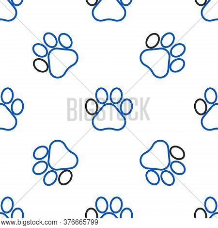 Line Paw Print Icon Isolated Seamless Pattern On White Background. Dog Or Cat Paw Print. Animal Trac