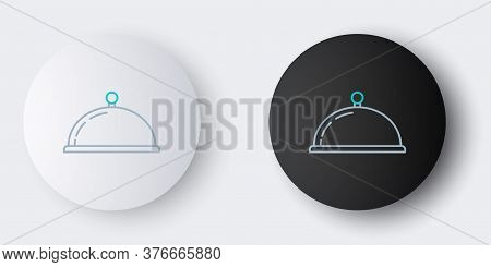 Line Covered With A Tray Of Food Icon Isolated On Grey Background. Tray And Lid Sign. Restaurant Clo