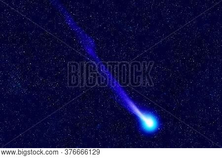 Comet On The Background Of Space. Elements Of This Image Were Furnished By Nasa.