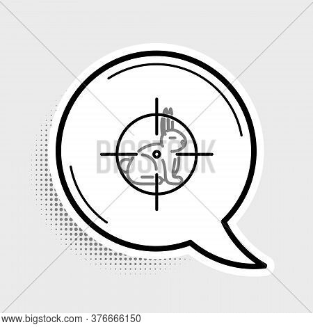 Line Hunt On Rabbit With Crosshairs Icon Isolated On Grey Background. Hunting Club Logo With Rabbit