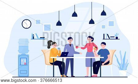 Office People Drinking Coffee During Lunch Break. Employees Meeting And Talking In Company Kitchen.