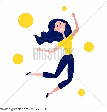 Vector Illustration Of Young Woman Jumping Isolated On White.