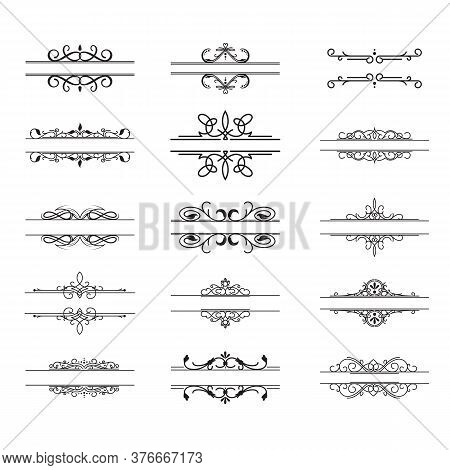Vintage Dividers Set. Retro Borders, Frame Element Pairs, Calligraphic Decoration With Swirls In Roy