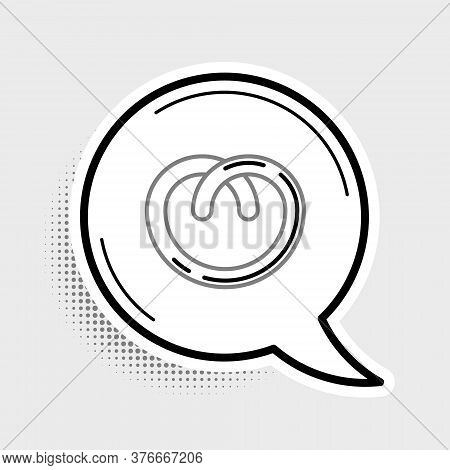 Line Pretzel Icon Isolated On Grey Background. German Comfort Food Pastry. Oktoberfest Festival. Col