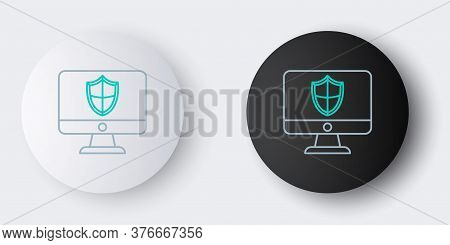 Line Computer Monitor And Shield Icon Isolated On Grey Background. Security, Firewall Technology, In