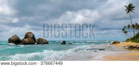 Untouched Tropical Beach Of Sri Lanka. Wide Photo.