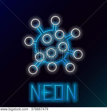Glowing Neon Line Bacteria Icon Isolated On Black Background. Bacteria And Germs, Microorganism Dise