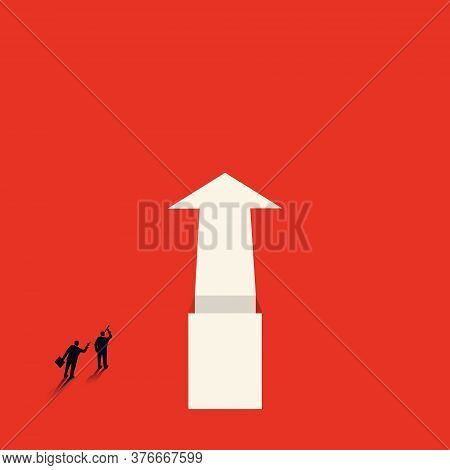 Vector Concept Of Business Opportunities Or Obstacles. Pointing Arrow With A Chasm. The Businessman