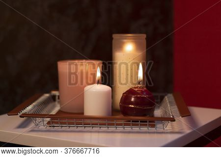 Set Of Candles - Pink And Red - On A Handmade Metal Tray. Home Interior And Decor
