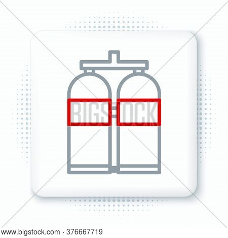 Line Aqualung Icon Isolated On White Background. Oxygen Tank For Diver. Diving Equipment. Extreme Sp