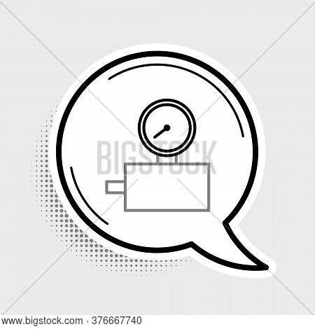 Line Gauge Scale Icon Isolated On Grey Background. Satisfaction, Temperature, Manometer, Risk, Ratin