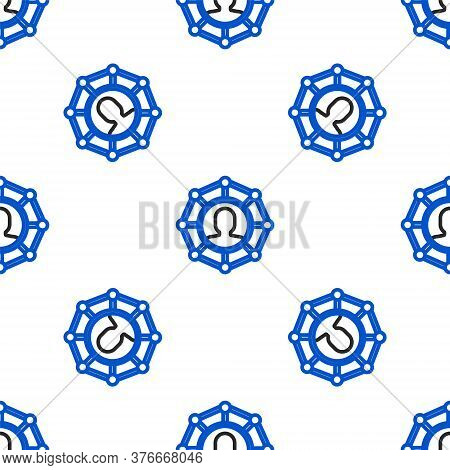 Line Project Team Base Icon Isolated Seamless Pattern On White Background. Business Analysis And Pla
